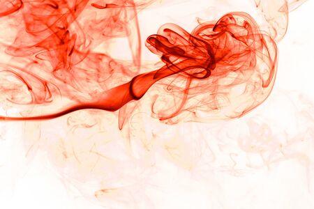 aura energy: Movement red smoke on white background.