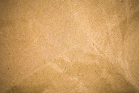 crinkled: Crumpled brown recycle paper background. Stock Photo