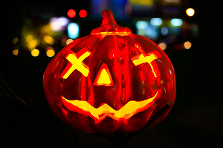pumpkin head: Halloween pumpkin head jack lantern in the night. Stock Photo