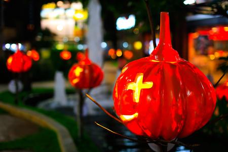 Halloween pumpkin head jack lantern in the night. Stock Photo