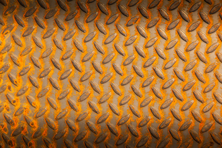 rough diamond: Surfaces metal floor sheet with rust. Stock Photo