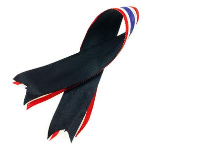 Thailand Sadnessthe Symbol Of Mourning Black Ribbon And Thailand