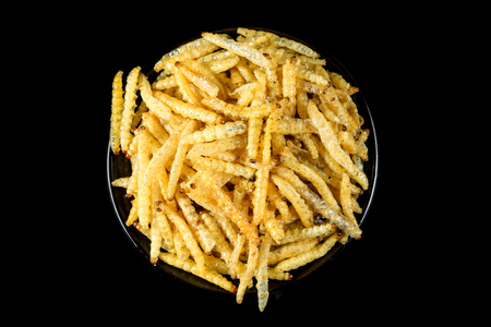 deed: Dried insect deed fried, Worm bamboo fried, Local food. Stock Photo