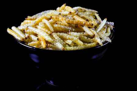Dried insect deed fried, Worm bamboo fried, Local food. Stock Photo
