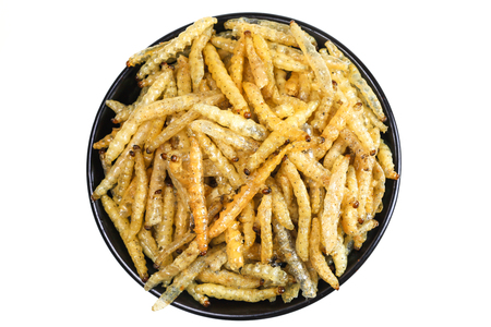 deed: Worm bamboo fried, Local food, Dried insect deed fried