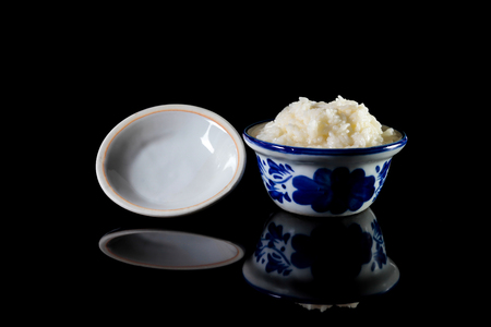 fermented: Sweetmeat consisting of fermented sticky rice, Kaomark thai traditional dessert. Stock Photo