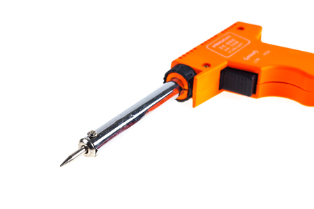 Soldering iron on a white background. Stock Photo