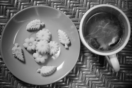 Thai Dessert Kanom Sum Pun Nee with morning hot coffee. Stock Photo
