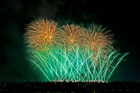 Crowd looks holiday fireworks in dark evening sky. Stock Photo