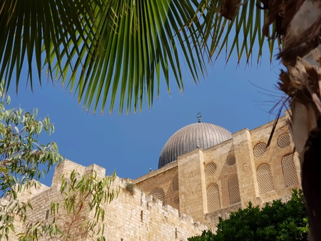 Al-Aqsa mosque seen from the Archeological park in the old city of Jerusalem Banco de Imagens
