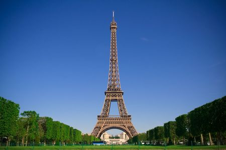 The Eiffel Tower in the morning with clear blue sky. Spring time Stock Photo