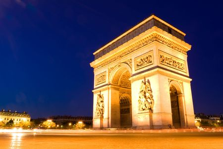 The Arch of Triumph at night. Paris Stock Photo