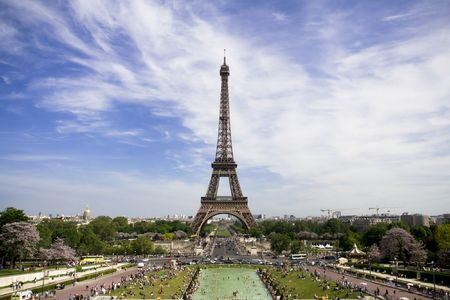 Crowd in front of the Eiffel Tower. Spring time Stock Photo
