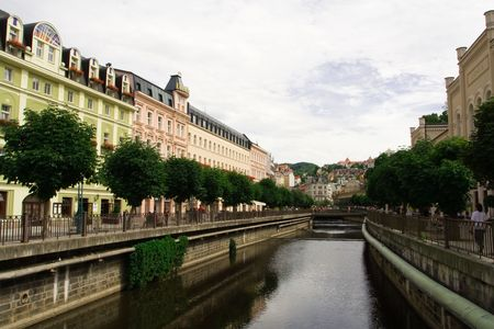 karlovy: Water canal in the city of Karlovy Vary (Czech Republic) Stock Photo