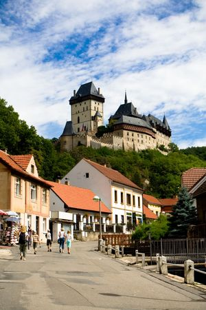 Karlstein castle and streen of old town