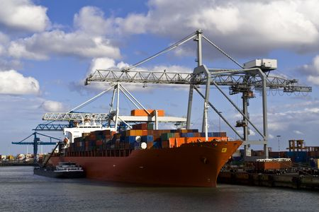 Freight ship under loading in the Port of Rotterdam