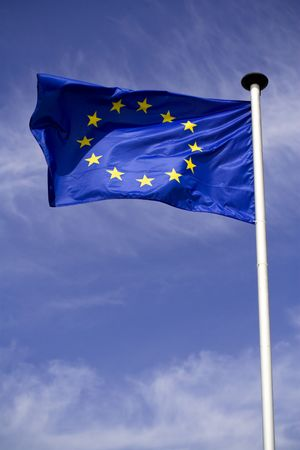Waving flag of European union with blue sky background Stock Photo - 4059372
