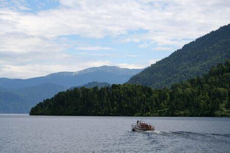 altay: Lake Teletskoe in mountain area of Altay region, Russia. Stock Photo