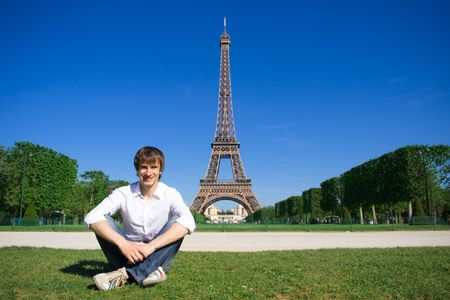 champs: Young man on the Champs de Mars Stock Photo