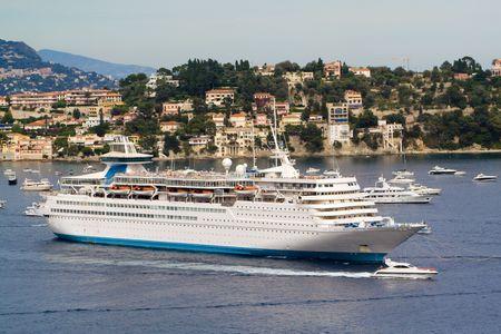 Big cruise ship on a berth in the Mediterranean sea