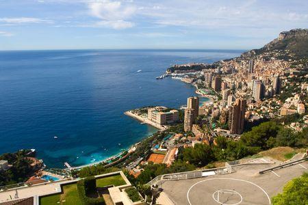 carlo: Monaco. View from the hill. Monte Carlo region is in the centre Stock Photo
