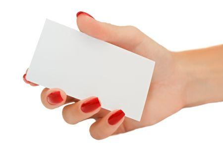 Nette weibliche Hand halten eine leere Visitenkarte Standard-Bild - 5484007