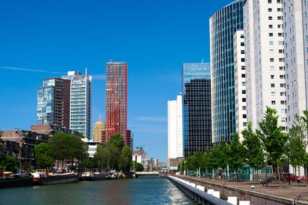 rotterdam: Residential buildings and embankment in the centre of Rotterdam, The Netherlands