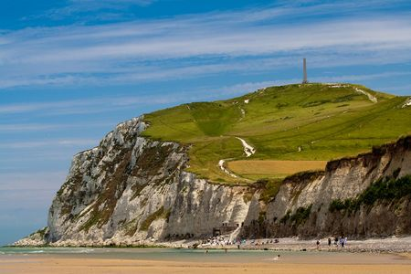 the major tide: Cliffs on the North  sea. The coastline of France