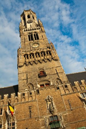 Tower on the central square of Brugge (Bruges), Belgium photo