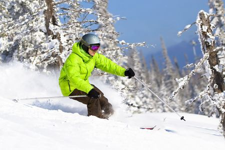 Young man on skis riding between trees in powder snow. Freeride Stock Photo