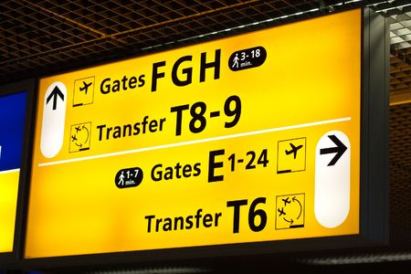 Information sign in airport. Gates and transfer directions Stock Photo - 5681324