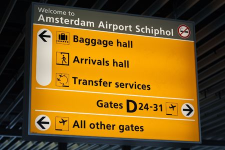 schiphol: Information sign in Schiphol airport, Amsterdam Stock Photo