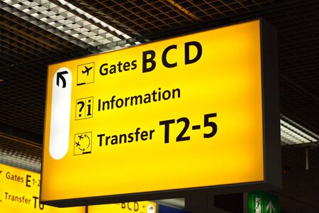 Information sign in airport. Gates and transfer directions Stock Photo - 5712687