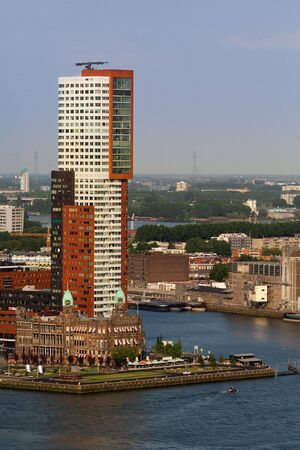euromast: Architecture of Rotterdam. Aerial view from the Euromast Stock Photo
