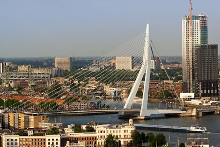 Zoomed view on the Erasmus bridge from the Euromast photo