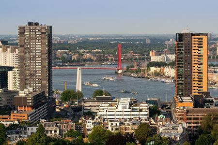 euromast: Buildings of Rotterdam and the Maas river. Aerial view from Euromast.