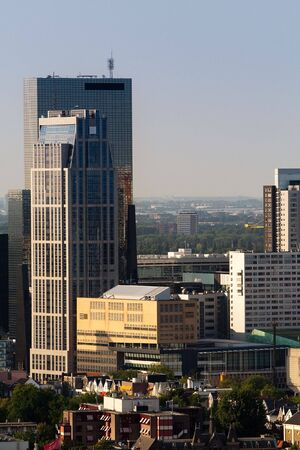 euromast: Skyscrapers of Rotterdam. Zoomed view from the Euromast Stock Photo