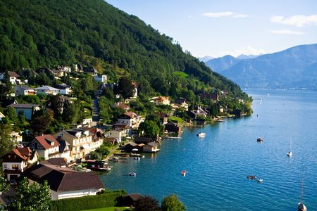 austrian: Gmunden city and Traunsee lake. Austrian Alps.