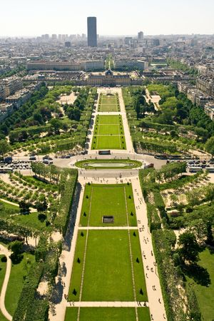 Aerial view on the Champs de Mars from the Eiffel Tower photo