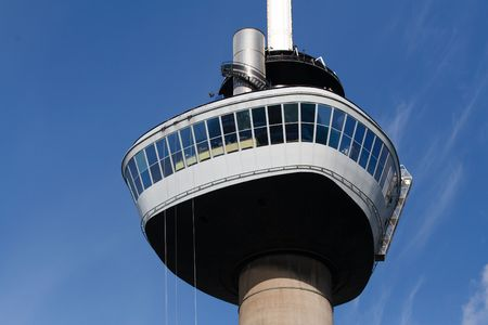 rotterdam: Zoomed view on the Euromast tower. A landmark of Rotterdam, The Netherlands Editorial