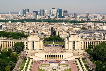 palais: Aerial view on the Palais de Chaillot from the Eiffel Tower. Paris, France Stock Photo