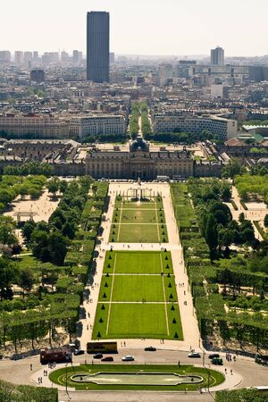 Aerial view on the Champs de Mars from the Eiffel Tower Stock Photo - 6010652
