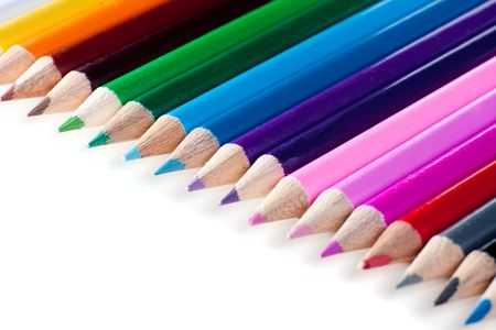 Set of pencils of different colors on white background photo