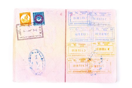 russian federation: Pages of international passport and customs stamps in it Stock Photo