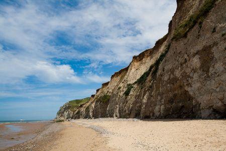 the major tide: White cliffs on the sea shore. The coastline of France