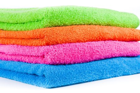 orange washcloth: Bath colorful towels. Stack into one pile