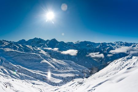 Panorama of winter mountains, Ski resort in French alps Stock Photo
