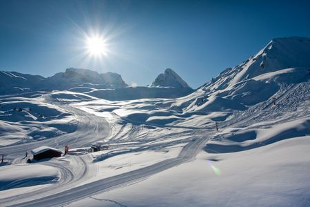 Snowy winter in mountains. European Alps