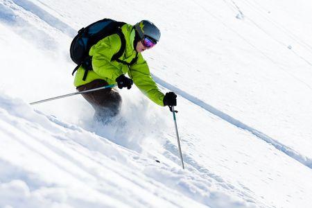 offpiste: Freeride skiing. Offpiste downhill in powder snow Stock Photo