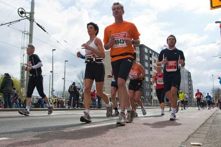 ROTTERDAM, THE NETHERLANDS - APRIL 11 : Annual Fortis Rotterdam Marathon. Runners on the city streets on April 11, 2010 in Rotterdam Stock Photo - 6896455